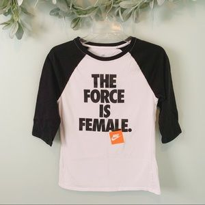 "Nike ""The Force Is Female"" Baseball Tee"
